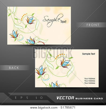Floral decorated professional and designer business card set or visiting card set. EPS 10.