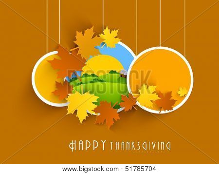 Happy Thanksgiving labels, tags or stickers with maple leafs.