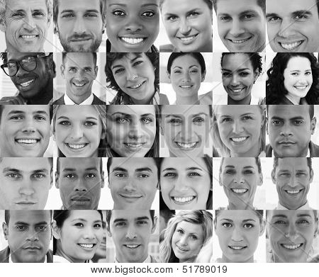 Head shot profile pictures in black and white of smiling applicants