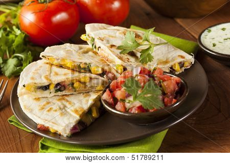 Homemade Cheese And Bean Quesadilla