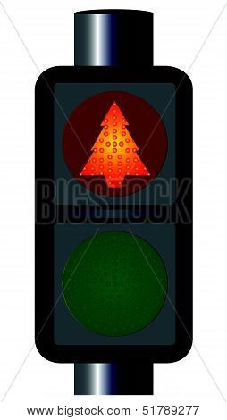 Red Christmas Tree Traffic Lights