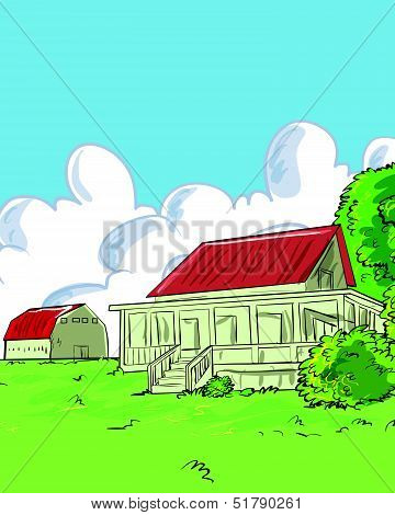 Illustration of farmhouse in a green with a barn