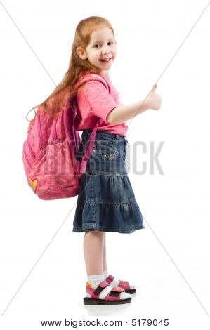 Very Young Elementary Age Girl With Pink Backpack