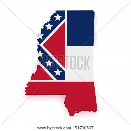 Mississippi Map Flag 3D Shape