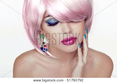Makeup. Sexy Lips. Beauty Girl Portrait With Colorful Makeup, Coloring Hair, Nail Polish And Earring