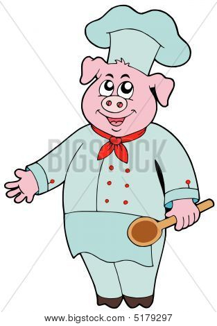 Pig Chef On White Background
