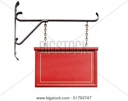 Wooden red shop sign without text hanging from forged iron wall mount, isolated on white