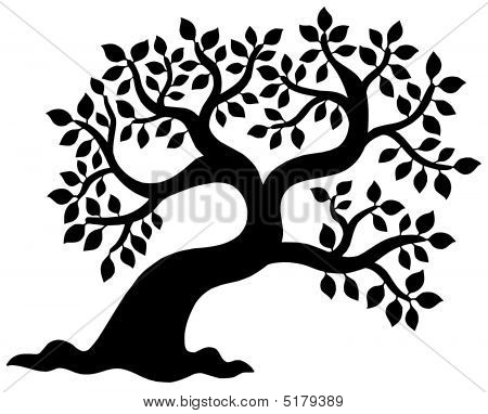 Leafy Tree Silhouette