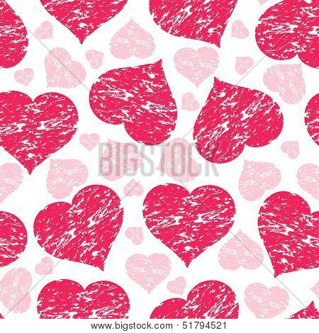 Vector Illustration Of A Seamless Pattern With Grunge Hearts
