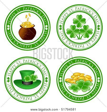Vector Illustration Of A Set Of Green  Stamps With Four Leaf Clover Shape, Pot, Gold Coins, Leprecha