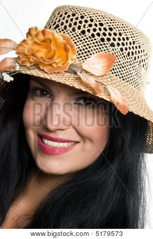 Portrait Of Beautiful Woman With Hat