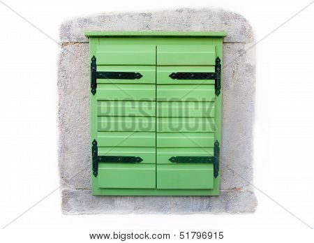 Window Shutters Freshly Painted Green
