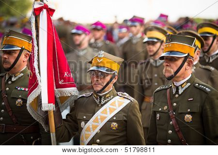 KRAKOW, POLAND - SEPT 21: Unidentified participants feast of the Polish cavalry in the National Museum, Sept 21, 2013 in Krakow, Poland. Festival is held in honor of the battle Sept 12 1683.