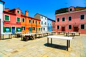 Venice Landmark, Burano Old Market Square, Colorful Houses, Italy poster