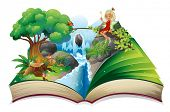 foto of storybook  - Illustration of a storybook with an image of nature and a fairy on a white background - JPG