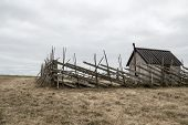 stock photo of farmhouse  - Old farmhouse in the field - JPG
