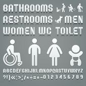 image of female toilet  - Alphabet folded of toilet paper and symbols ws - JPG