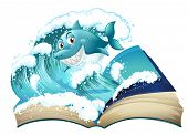 Illustration of a book with a smiling shark on a white background