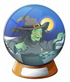 image of witch ball  - Illustration of a witch inside the crystal ball on a white background - JPG