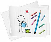 Illustration of a doodle art in a piece of paper on a white background poster