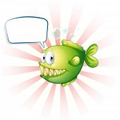 stock photo of piranha  - Illustration of a piranha with an empty callout on a white background  - JPG
