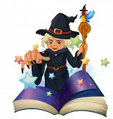 Illustration of a storybook about a black witch on a white background