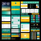 foto of video chat  - Set of flat icons and elements for mobile app and web design - JPG