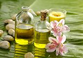 picture of yellow orchid  - Health spa on banana leaf - JPG
