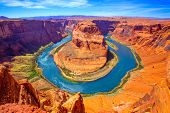 stock photo of ravines  - Arizona Horseshoe Bend meander of Colorado River in Glen Canyon - JPG