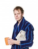 picture of housecoat  - Tired man in a robe - JPG