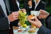 stock photo of buffet lunch  - Lunch break with healthy food in a company