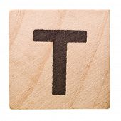 Block with Letter T isolated on white background