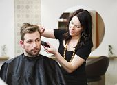 stock photo of trimmers  - Man at the Hair salon situation - JPG