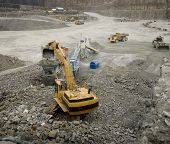 stock photo of slag  - Work in an Pit Mine industry - JPG