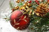 stock photo of pine-needle  - Christmas composition with christmas ball and decoration - JPG