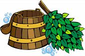 stock photo of washtub  - sauna equipment  - JPG