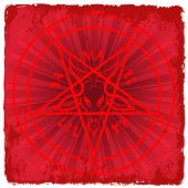 foto of baphomet  - symbol of Satan on red background  - JPG