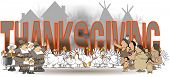 image of nativity  - The word Thanksgiving as a backdrop for a scene of native Americans - JPG