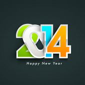 stock photo of calendar 2014  - Colorful Happy New Year 2014 celebration background - JPG