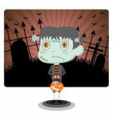 stock photo of frankenstein  - Frankenstein with Halloween Vector file is eps 10 and uses transparency blends and gradient mesh - JPG