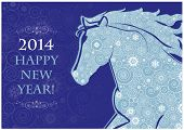 pic of hieroglyph  - Horse head of Snowflakes on the blue background - JPG