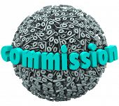 image of paycheck  - The word Commission on a 3d ball or sphere of percentage signs or symbols to illustrate earning a special bonus payment through sales or referrals - JPG