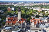 picture of leipzig  - Aerial view of the new town hall and the Johannapark at Leipzig - JPG