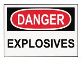 picture of osha  - OSHA danger explosives warning sign isolated on white - JPG