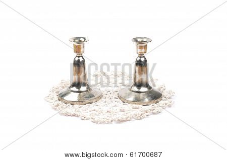 Candleholder On Crochet Doily