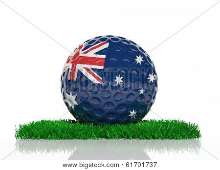 Golf ball with flag of Australia on green grass