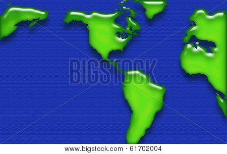 World Map Bright Blue And Green