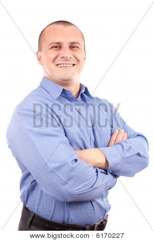 Happy Businessman Isolated On White Background