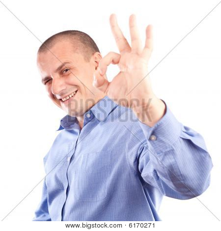 Young Businessman Showing Ok Sign
