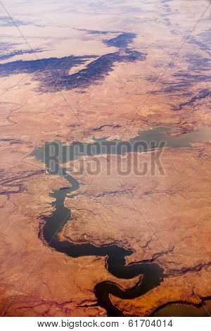 aerial shot of conchas lake and canyon, new mexico, usa